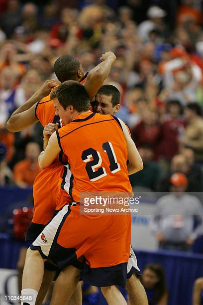Mar 18, 2005; Oklahoma City, OK, USA; Kevin Bettencourt celebrates after Bucknell's win over Kansas during the First Round of the NCAA tournament in...