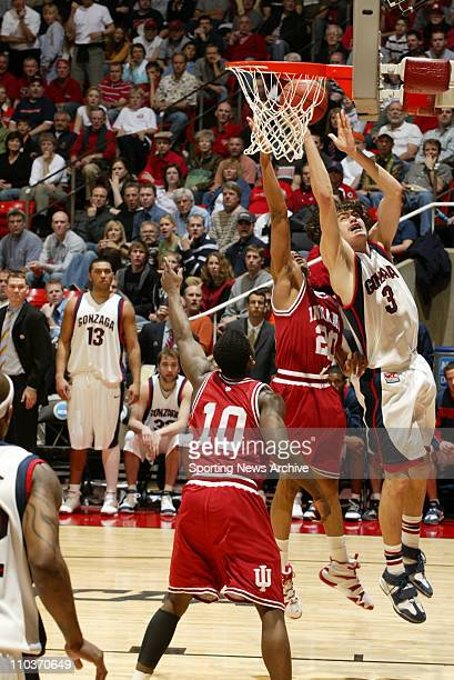 Mar 18 2006 Salt Lake City UT USA NCAA BASKETBALL Indiana Hoosiers AJ Ratliff against the Gonzaga Bulldogs Adam Morrison during second round of the...