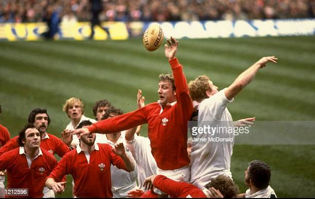 Richard Moriarty of Wales jumps against Maurice Colclough of England during a match at Twickenham in London England England won the game 177...