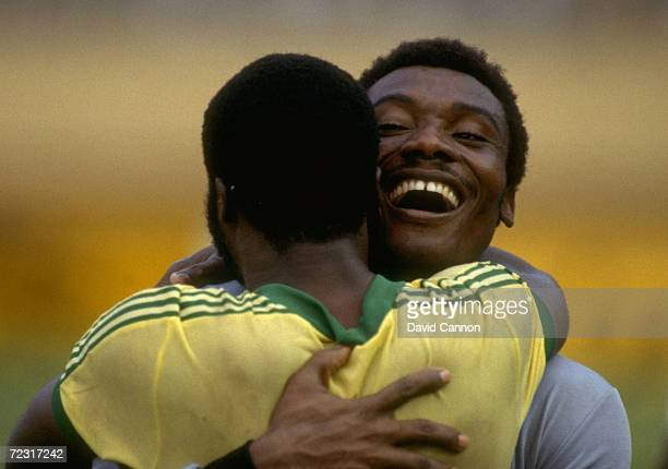 Antoine Bell and Roger Milla of Cameroon celebrate victory in the Africans Nations Cup Final against Nigeria in Abidjan Cameroon Cameroon won the...
