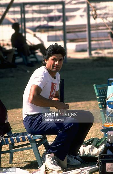 Mohsin Khan of Pakistan at the nets during a training session before the First Test match against England at the National Stadium in Karachi Pakistan...