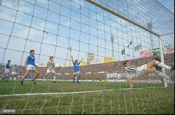 Diego Maradona of Napoli SSC celebrates a goal during an Italian League match against Juventus FC at the Delle Alpi Stadium in Turin Italy The match...