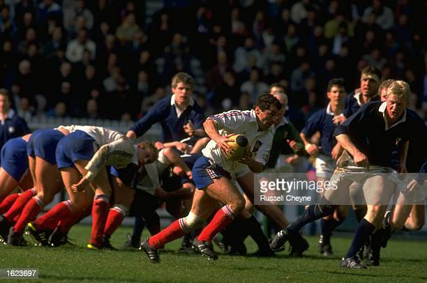 Pierre Berbizier of France charges for the line to score a try during the Five Nations Championship match against Scotland at the Parc de Princes in...