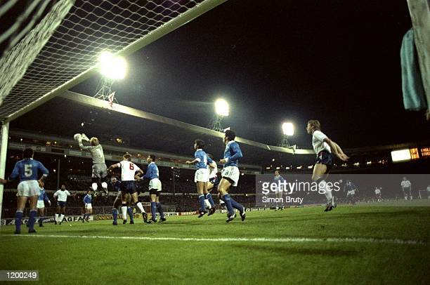 Brazilian goalkeeper Taffarel collects a cross during a Friendly match against England at Wembley Stadium in London England won the match 10...