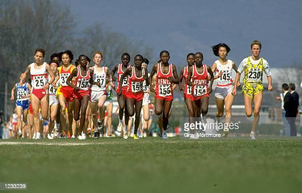 Malin Ewerloef leads the field during the Junior Womens race at the IAAF World Cross Country Championships in AixlesBains France Mandatory Credit...