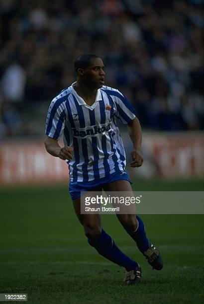 Dalian Atkinson of Real Sociedad in action during a match against Real Madrid Real Sociedad won the match 32 Mandatory Credit Shaun Botterill/Allsport