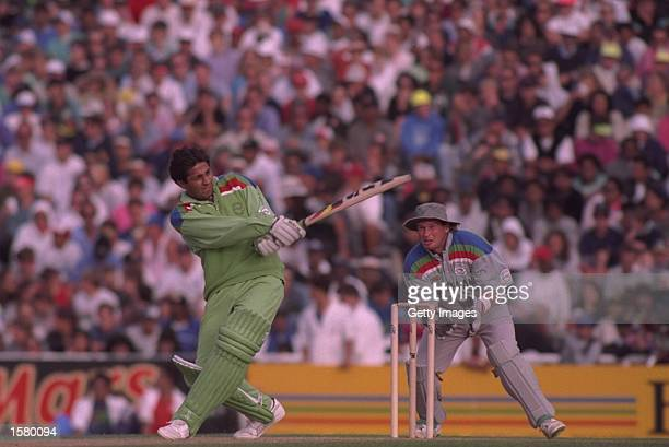 Inzamam ulHaq of Pakistan in batting action during the semifinal of the Cricket World Cup between Pakistan and New Zealand at Eden Park in Auckland