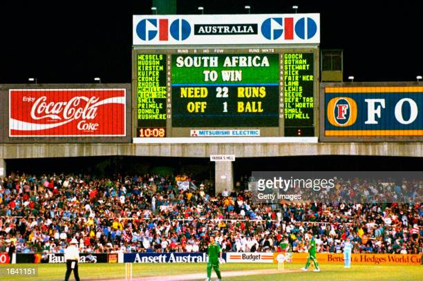 The scoreboard tells the story as England win a controversial rain affected game on run rate in the World Cup semi-final against South Africa at the...