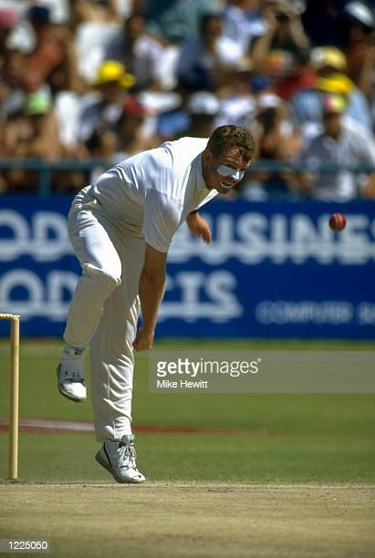 Craig McDermott of Australia bowls during the Second Test match against South Africa at Newlands in Capetown South Africa Australia won the match by...