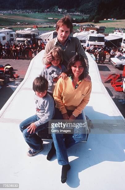Gilles Villeneuve with son Jacques and family Mandatory Credit Allsport USA