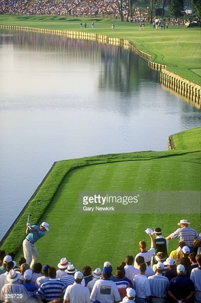 Jeff Maggert tees off from the 18th hole during the Players Championship at TPC at Sawgrass in Ponte Vedra, Florida. Mandatory Credit: Gary Newkirk...