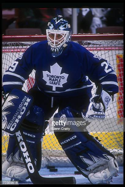 Goaltender Felix Potvin of the Toronto Maple Leafs looks on during a game against the Anaheim Mighty Ducks at Arrowhead Pond in Anaheim California...
