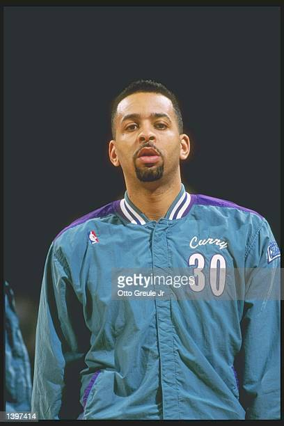 Guard Dell Curry of the Charlotte Hornets stands on the court before a game against the Portland Trailblazers at the Rose Garden in Portland Oregon...