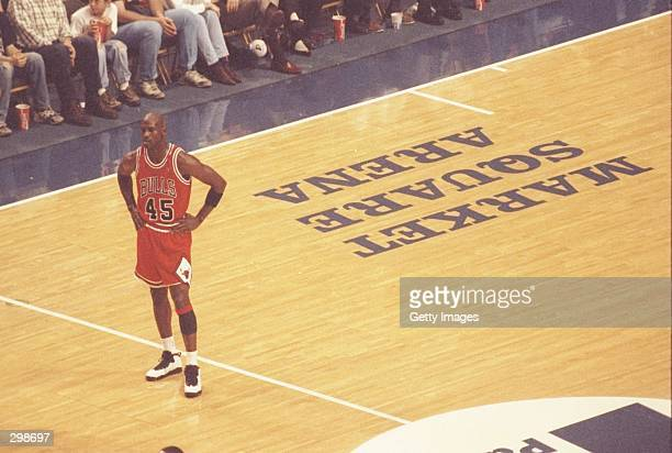 Guard Michael Jordan of the Chicago Bulls looks on during a game against the Indiana Pacers at Market Square Arena in Indianapolis, Indiana Mandatory...
