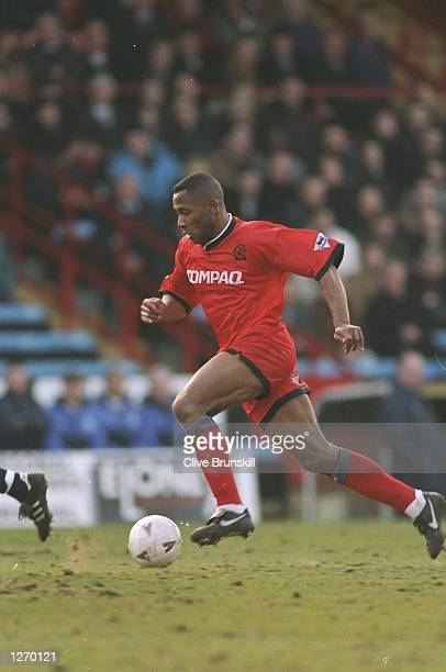 Les Ferdinand of Queens Park Rangers in action during an FA Carling Premiership match against Wimbledon at Selhurst Park in London Queens Park...