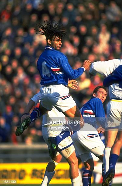 Ruud Gullit of Sampdoria jumps for the ball watched by team mate David Platt during a Serie A match against Parma AC at the Ennio Tardini Stadium in...
