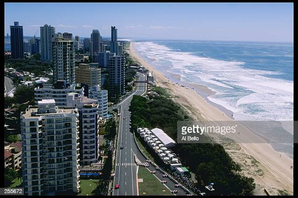 Aerial view of the circuit at the IndyCarnival in Surfers Paradise Australia Mandatory Credit Al Bello /Allsport