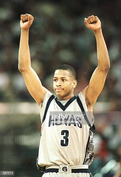 Allen Iverson of Georgetown celebrates in the final seconds of the second half of the NCAA East Regional Men''s Basketball game played at the Georgia...