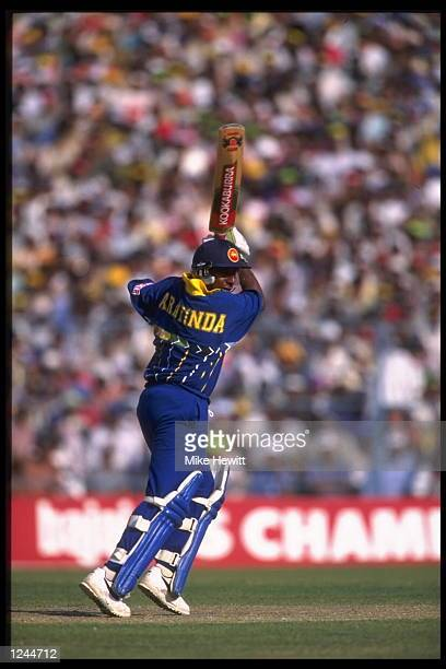 Aravinda De Silva of Sri Lanka in action in the semifinal match against India during the cricket world cup in Calcutta India