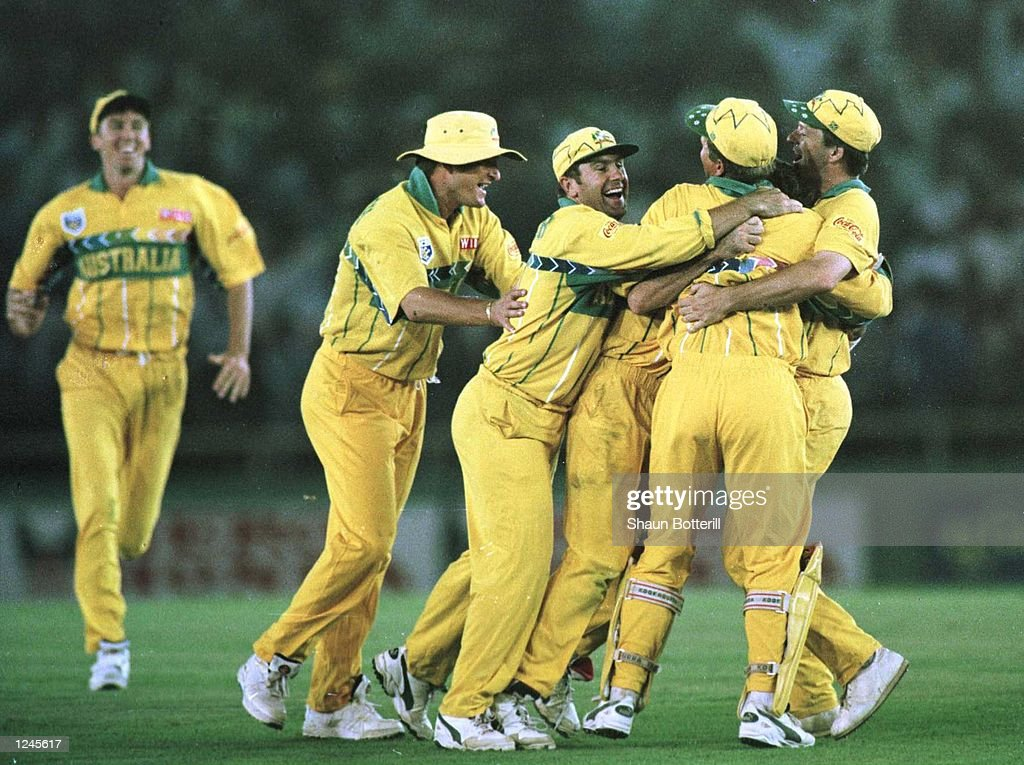 Australia captain Mark Taylor celebrates with teammates after winning the Semi Final match between Australia and West Indies played at Chandigarh...