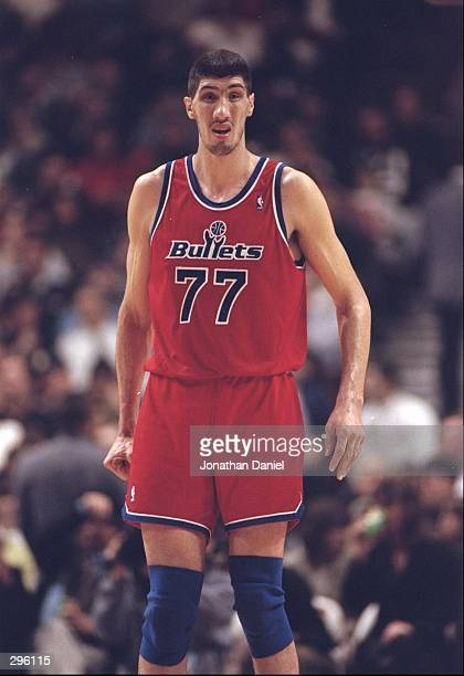 Center Gheorghe Muresan of the Washington Bullets walks down the court during a game against the Chicago Bulls at the United Center in Chicago...