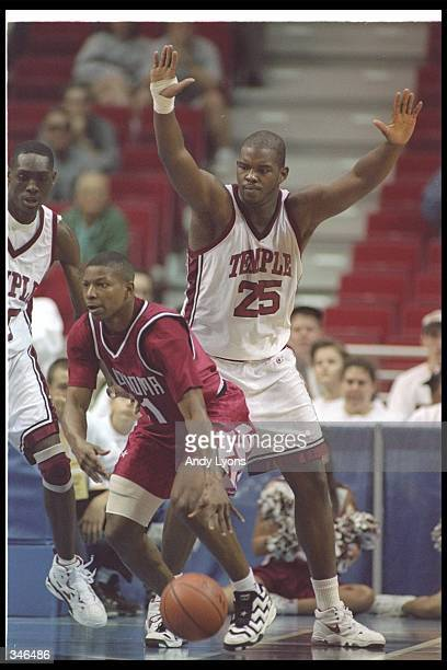 Center Marc Jackson of the Temple Owls plays defense during a game against the Oklahoma Sooners at the Orlando Arena in Orlando Florida Temple won...