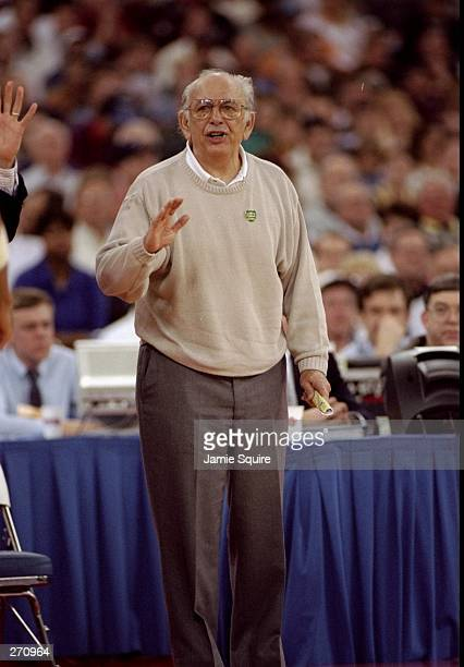 Coach Pete Carril of the Princeton Tigers looks on during a game against the UCLA Bruins at the RCA Dome in Indianapolis Indiana Princeton won the...