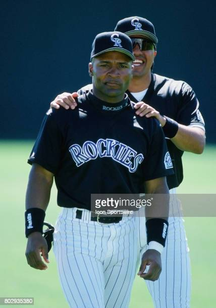 Colorado Rockies outfielder Trent Hubbard on the field with infielder Vinny Castilla before a spring training game against the Milwaukee Brewers at...