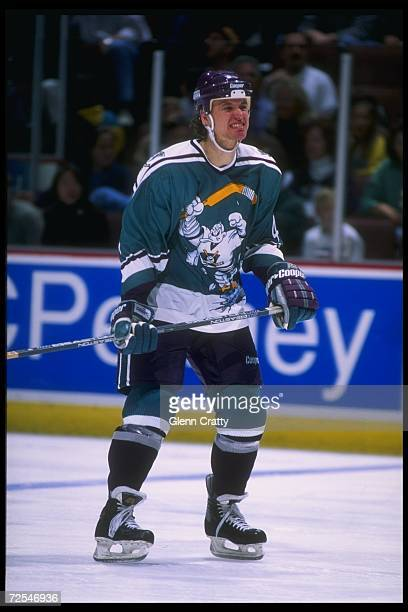 Defenseman Fredrik Olausson of the Anaheim Mighty Ducks looks on during a game against the St Louis Blues at Arrowhead Pond in Anaheim California The...