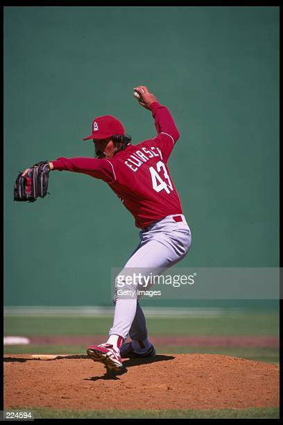 Dennis Eckersley of the St Louis Cardinals throws the ball during a game against the Philadelphia Phillies at Jack Russell Stadium in Florida