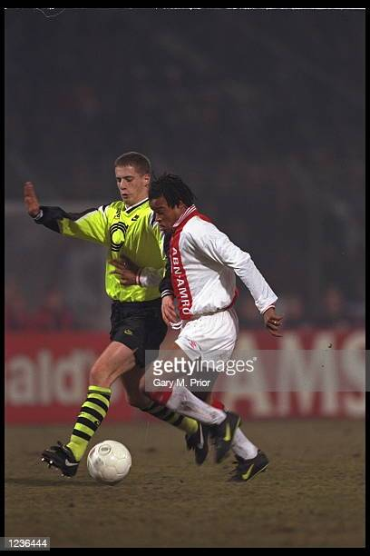 Edgar Davids of Ajax on the ball during the Champions League game against Borussia Dortmund
