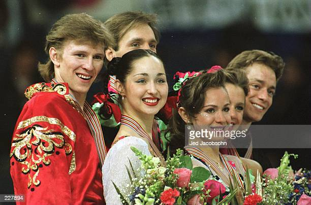 From left to right Oleg Ovsiannikov and Anjelika Krylova of Russia Evgeny Platov and Oksana Grishuk of Russia and ShaeLynn Bourne and Victor Kraatz...