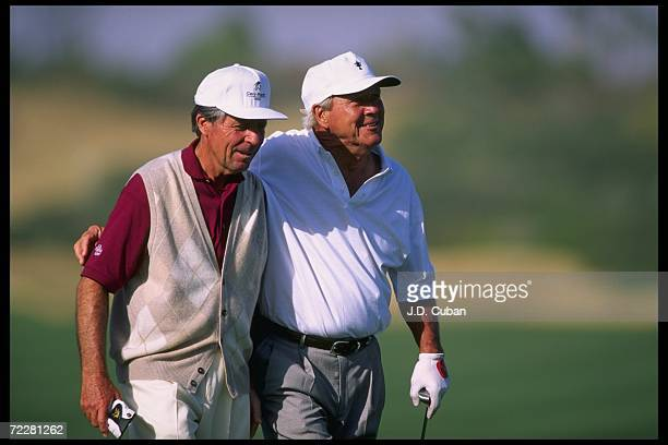 Gary Player and Arnold Palmer look on during the Legends of Golf game played at the PGA West Stad. Course. Mandatory Credit: J.D. Cuban /Allsport