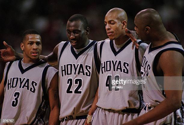 Georgetown players Allen Iverson Aw Boubacar Jerome Williams and Jahidi White gather and talk during the Hoyas loss to the University of...
