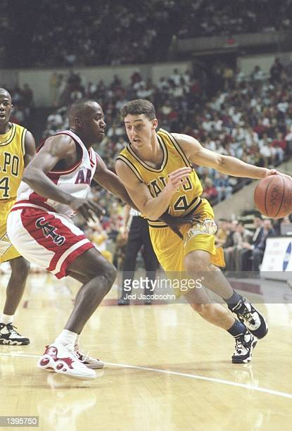 Guard Bryce Drew of the Valparaiso Crusaders in action against the Arizona Wildcats during a game at the University Activity Center in Tempe Arizona...