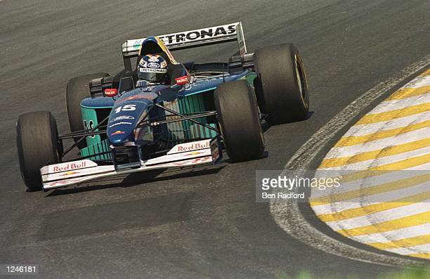HeinzHarald Frentzen of Sauber corners during practice for the Brazil Formula 1 Grand Prix at Interlagos in Sao Paolo Brazil Mandatory Credit Ben...