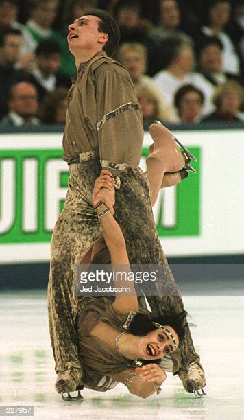 Irna Romanov and Igor Yaroshenko of the Ukraine in action during their free dance program at the World Figure Skating Championships in Edmonton...