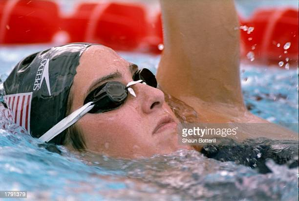 Janet Evans swims during a race at the US Swim Trials Mandatory Credit Shaun Botterill /Allsport
