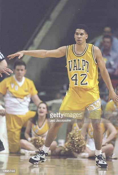 Kareem AbdulJabbar Jr of the Valparaiso Crusaders in action during a game against the Arizona Wildcats at the University Activity Center in Tempe...