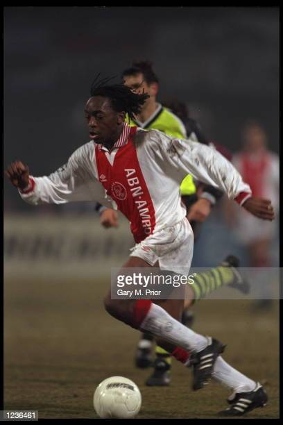 Kiki Musampa of Ajax on the ball during the Champions League game against Borussia Dortmund