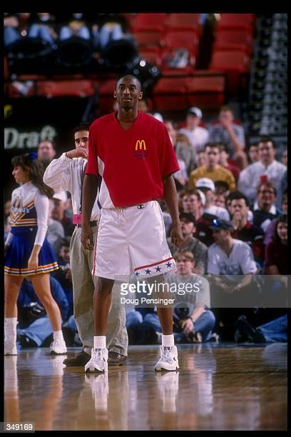 Kobe Bryant looks on during the McDonald''s AllAmerican at the Civic Arena in Pittsburgh Pennsylvania Mandatory Credit Doug Pensinger /Allsport