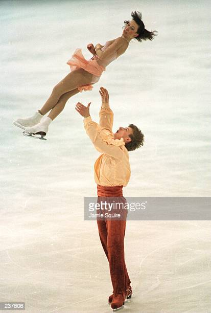 Marina Eltsova and Andrey Bushkov from Russia in action during the pairs performance at the World Figure Skating Championships in Edmonton Alberta...