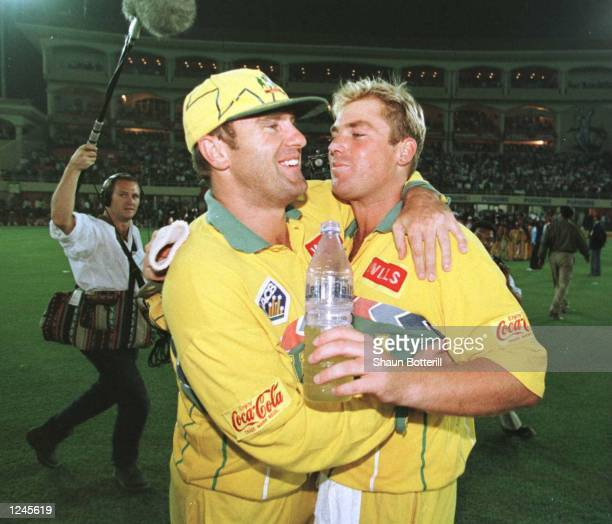 Mark Taylor and Shane Warne of Australia celebrate after winning the Semi Final match between Australia and West Indies played at Chandigarh...