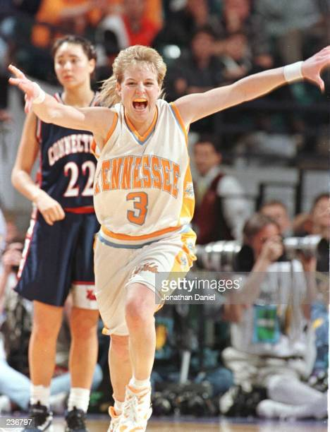 Michelle Marciniak of the University of Tennessee celebrates their 8883 overtime victory over the University of Connecticut in the semifinals of the...