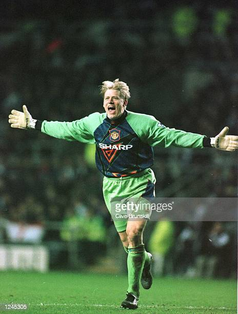 Peter Scmeichel celebrates after Eric Cantona scores the opening goal for Man Utd during the Newcastle Utd v Manchester Utd FA Premiership match at...