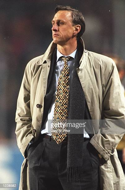 Portrait of Barcelona Coach Johan Cruyff before the UEFA Cup match against PSV Eindhoven at the Philips Stadion in Eindhoven Holland Mandatory Credit...
