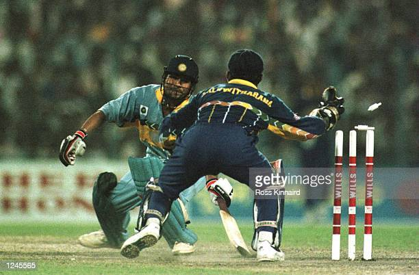 Sachin Tendulkar of India is stumped by Kaluwitharana of Sri Lanka for 65 during the semifinal in the Cricket World Cup between India and Sri Lanka...