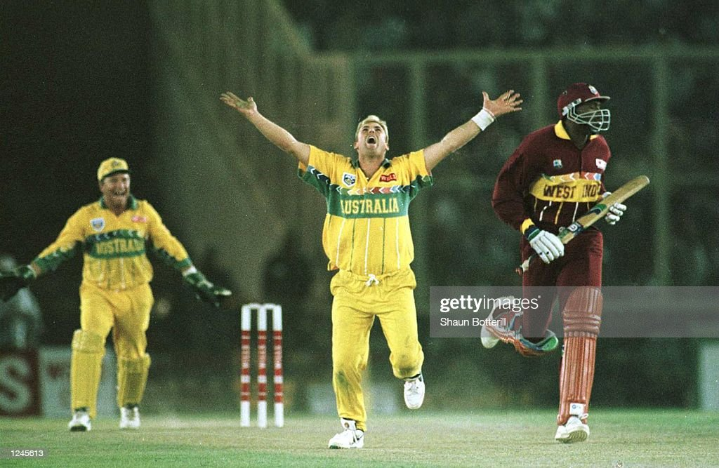 Shane Warne of Australia celebrates trapping Ian Bishop lbw during the Semi Final match between Australia and West Indies played at Chandigarh...