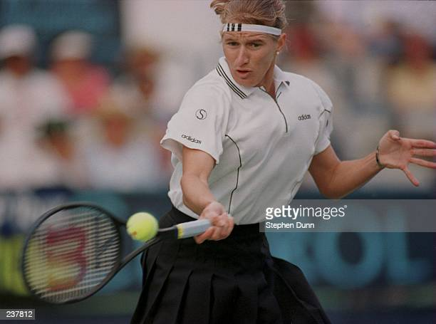 Steffi Graf of Germany hits a forhand volley during her straight sets 64 61 victory over Amanda Coetzerof South Africa during the third round of the...