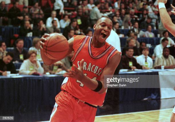 Syracuse University forward John Wallace celebrates just after the final buzzer of the Orangemen 6057 victory over Kansas in the NCAA West Regional...